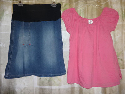 2 Pc Maternity Career Lot Pink Peasant Top/Denim Mid Belly Skirt Sz Small