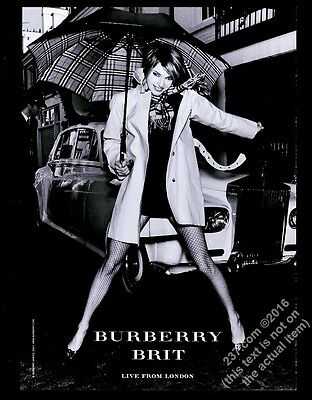 2003 Burberrys trenchcoat woman in fishnet stockings photo vintage print ad