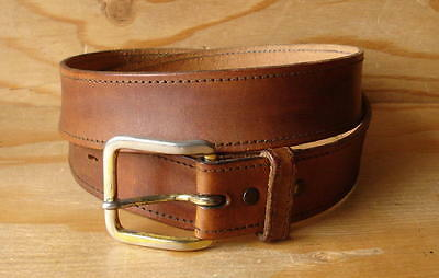 Vtg SEARS Made In USA Top Grain Brown Leather Belt w/Removable Buckle size 34-36