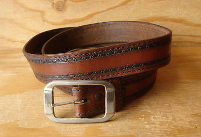 Vintage Hippie Tooled Brown Leather Belt w/Removable Buckle -Size 36