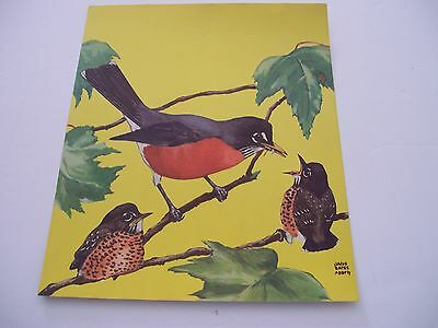 "Vintage 1930's/40's Lithograph ""Mother Robin Feeding her Babies"" by Jacob Bates"