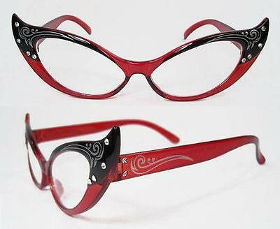 New Fun Red Cat Eye 50's Costume Rhinestone Glasses Party Fifties Dress Up Elope