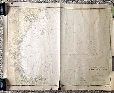 1924 Vtg Portsmouth NH To Cape Ann MA Nautical U.S. Coast Geodetic Survey Map