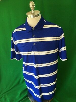 Nike Golf Dri-Fit Polo Shirt Blue White Striped Men's Large Short Sleeve