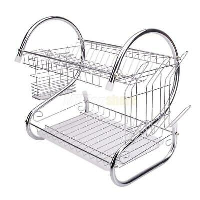 Kitchen Dish Cup Drying Rack Drainer Dryer Tray Cutlery Holder Organizer New
