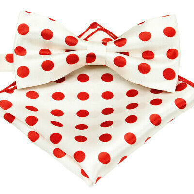 Brand new White N Red Polka Dot SATIN Mens Bow Tie and Pocket Square SET B1468
