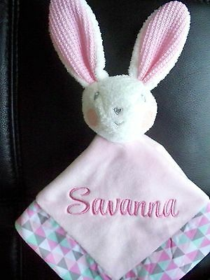 Personalised Baby Easter Bunny Cuddle Blanket Security  Gift  Comforter Rattle