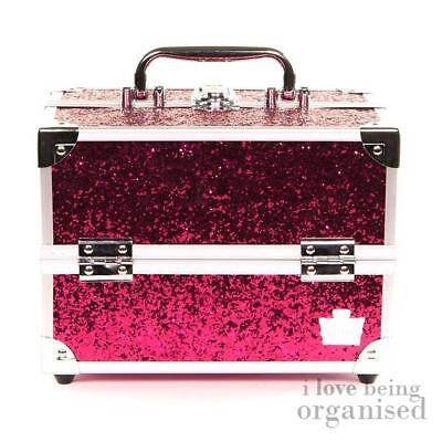 Glitter Pink Makeup Hard Box | Easy Carry Cosmetic Nail Storage | Caboodles Rock