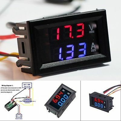 DC 100V 10A Voltmeter Ammeter Blue + Red LED Dual Digital Volt Amp Meter Gauge #