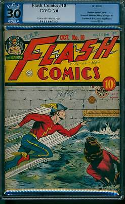 Flash Comics # 10  Classic Moldoff Cover !  PGX 3.0 rare Golden Age book !