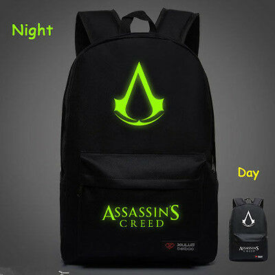 Noctilucence Assassin's Creed III School Bag Teenager Girl Boy Backpack Black