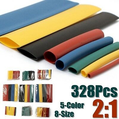 Soloop 328pcs 2:1 Heat Shrink Tube Sleeving Wrap Wire Assorted Kit 5Color 8 Size