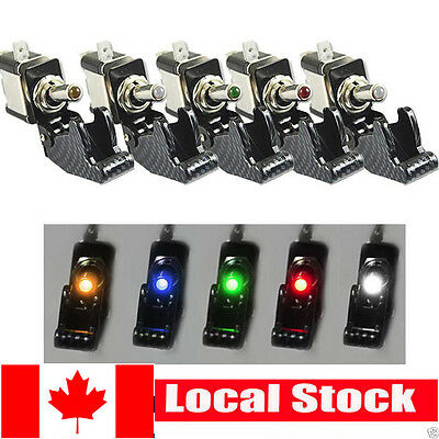5Pcs 12V 20A 5Colors Race Car Truck Carbon Fiber LED Light Toggle Switch SPST CA
