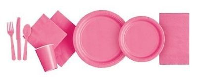 HOT PINK Party Tableware Disposable Birthday Supplies Event Decorations