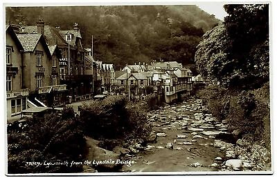 Early Real Photo Postcard . Lynmouth From The Lyndale Bridge .  Devon