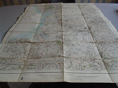 vintage ordnance survey map of NW inc Liverpool, Manchester linen backed 1914
