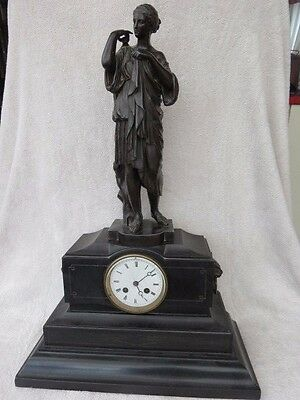Large Cast Spelter Figural Japy French 8 Day Clock For Restoration