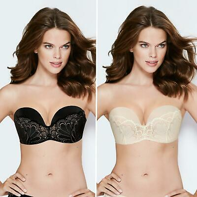 a42183a232 WONDERBRA ULTIMATE STRAPLESS Refined Glamour Black or Ivory Lace Bra -  W031U -  50.18