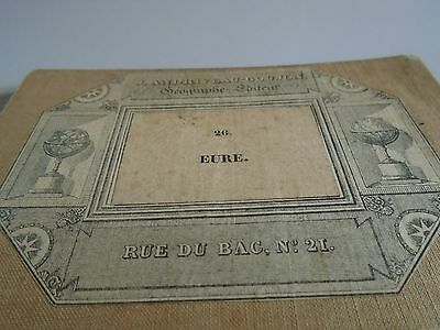 antique map of eure including rouen with cartouche linen backed