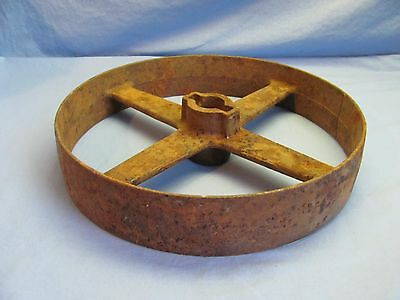 """Vintage 11-3/4"""" Industrial Cast Iron  Pulley Wheel Steampunk Lampbase"""