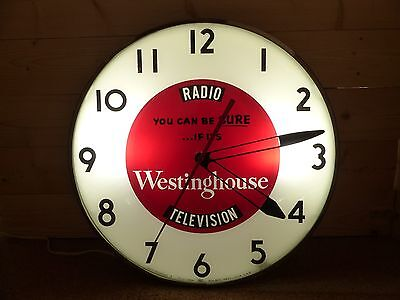 Original Vintage Westeringhouse TV Lighted Telechron Advertising Clock Sign Pam