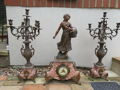 Very Large Antique French Ad Mougin Art Nouveau Clock Garniture For Restoration
