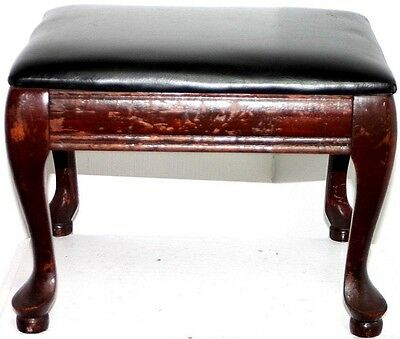 Antique Carved Mahogany Leather Top Ottoman Footstool. Chippendale Cabriole Legs