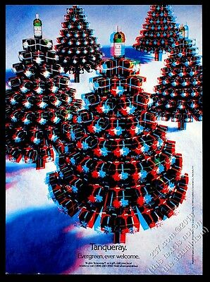 1990 Tanqueray gin 3D 3-D Christmas tree photo vintage print ad