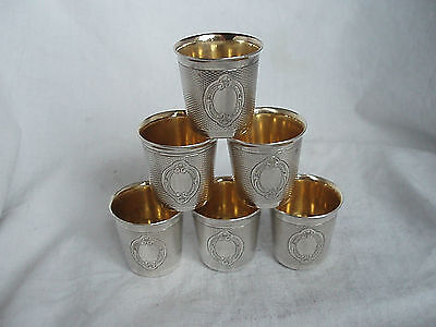 6X Shot Beakers Halphen Sterling Silver Paris Circa 1890