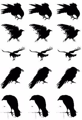 "Murder of Crows 5"" X 3-1/2"" Card Black Fused Glass Decals 17CC821"