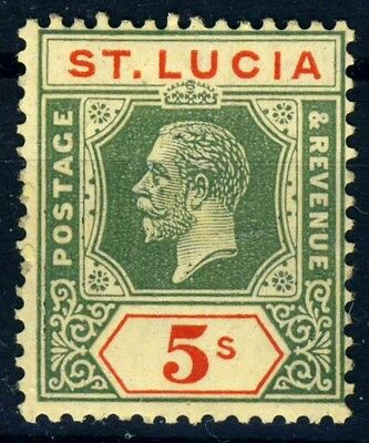 ST LUCIA King George V 1923 Five Shillings Green & Red/Yellow SG 105 MNH