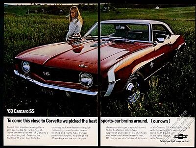1969 Camaro SS red car photo Chevy Chevrolet vintage print ad