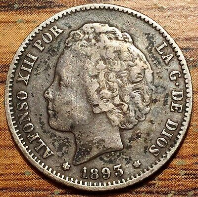 1893 Silver Spain Peseta Alfonso XIII Coin - Madrid Mint