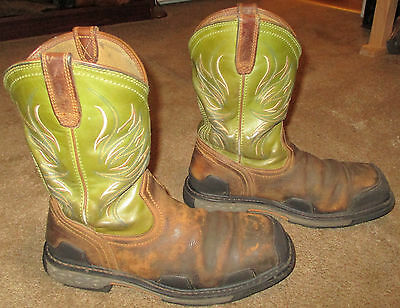Mens ARIAT Overdrive Square Toe Composite Toe Leather Work Boots sz 10.5 EE