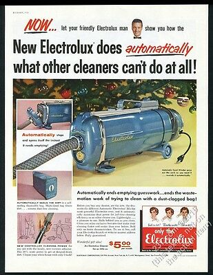 1956 Electrolux automatic vacuum cleaner color Xmas photo vintage print ad
