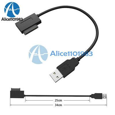 SATA Slimline to USB 2.0 Adapter Cable for Laptop CD DVD Rom Drive 7+6 13Pin
