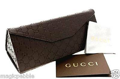 Gucci Brown Eyeglasses Triangle Case with cleaning cloth ~ NEW Gucci Logo