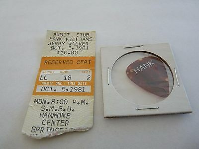 Hank Williams JR 1981 Concert Tour Used Issued Guitar Pick & Ticket Stub