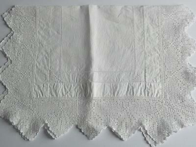 Vintage Irish Linen Tray Cloth/Table Centre - Broad Crocheted Lace Border, Inlay