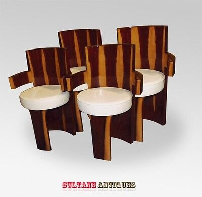 Superb four Art Deco style Brazilian Rosewood chairs