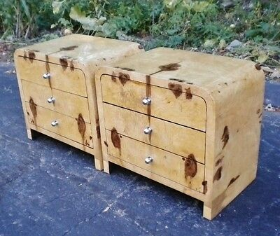Pair of best Art Deco inspired Olive wood commodes