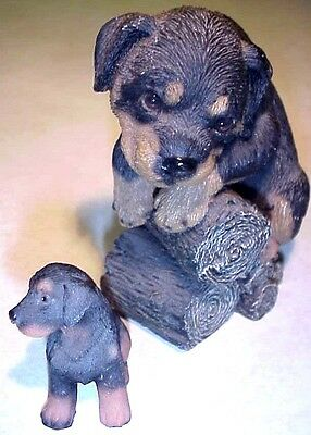 Rottweiler Puppy Dog On Logs Figurine & Small Rottweiler Figurine