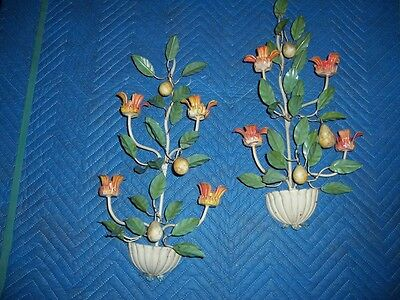 Pair of VTG. painted Metal fruit and Flower Wall Sconce Candle Holders 20 inch