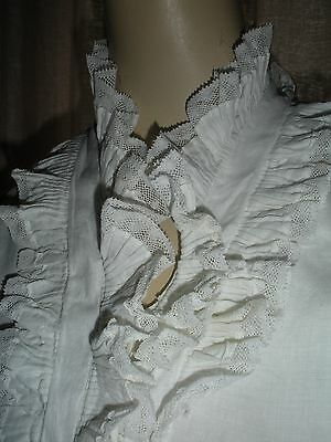 Antique Valencia Insertion Lace Ruffled Poet Jabot Collar Shirt Blouse Front