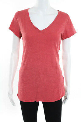 Eileen Fisher Red Cotton V Neck Cap Sleeve Tee Shirt Top Size Small