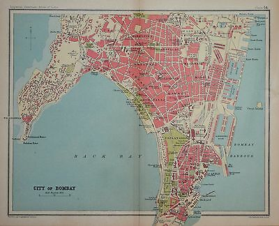 """India. City Of Bombay For The """"imperial Gazetteer Atlas Of India 1931."""