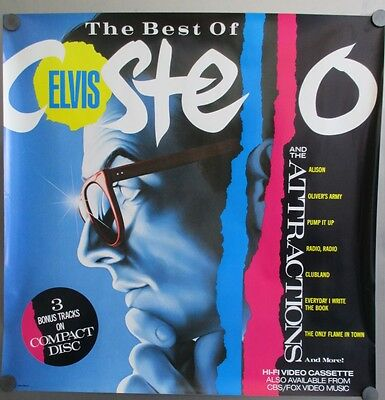 Original 1985 The Best Of Elvis Costello & The Attractions Store Promo Poster