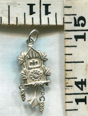 Vintage Sterling Bracelet Charm~#83573~.800~Moving Weights/Pendulum Cuckoo Clock