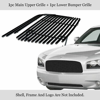 Fits 05-10 Dodge Charger Stainless Steel Black Billet Grille Grill Combo