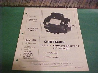 Sears Craftsman Owner's Manual1/2 H.p. Motor 113.12791